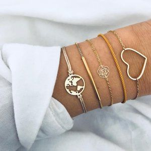 Heart Earth Orange rope Metal Bar Bracelet